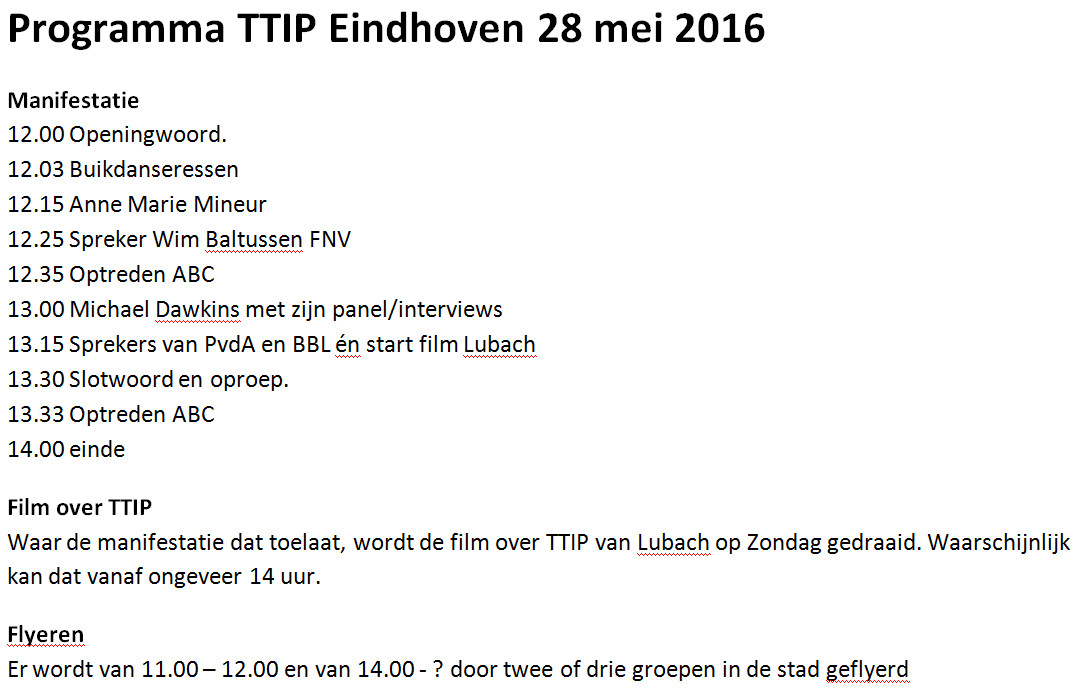 Programma TTIP-manifestatie 28 mei 2016