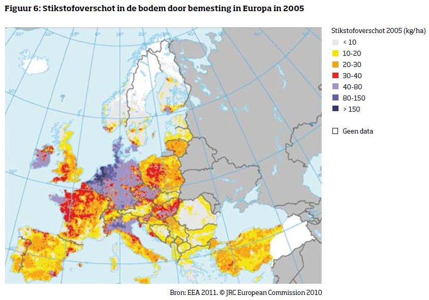 stikstofoverschot in de bodem door bemesting in Europa in 2005
