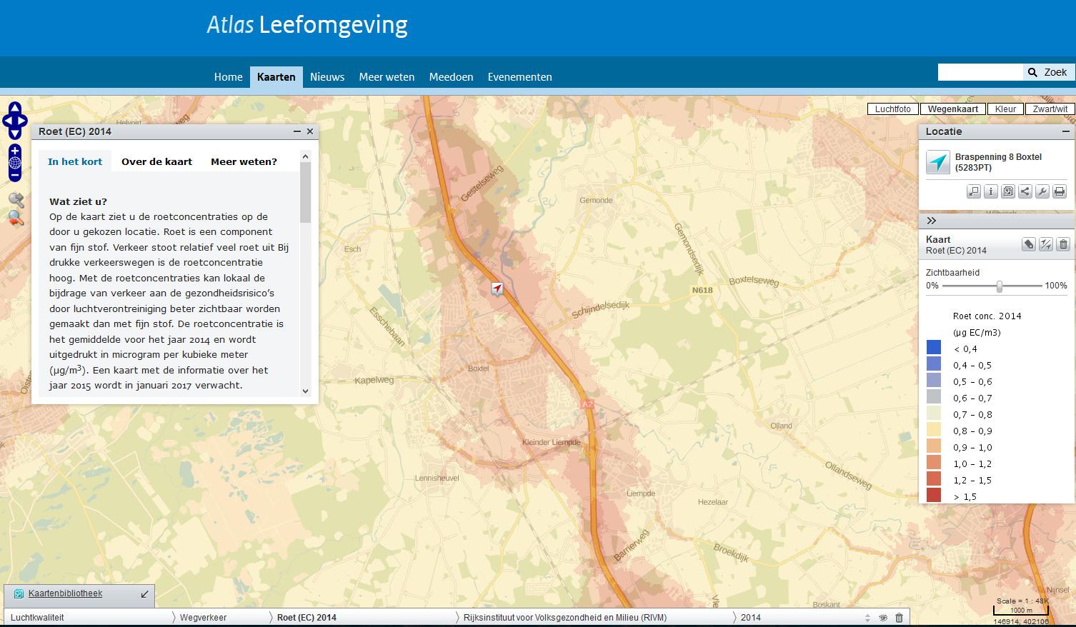 Roetkaart van Boxtel. 2014, Atlas voor de Leefomgeving en RIVM
