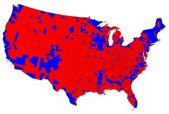De uitslag van de presidentsverkiezingen op county-niveau