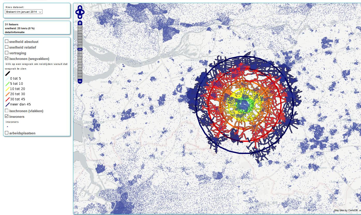 Isochronen rond het centrum van Tilburg (bleekblauwe vlekken bevolkingsconcentraties).