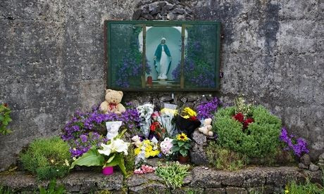 A memorial at the spot where 796 children may have been buried in Tuam, Galway. Photograph: Patrick Bolger
